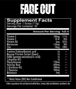 Redcon1 Fade out supplement facts