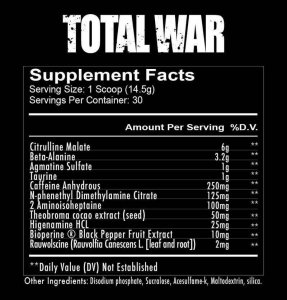 Total War Pre workout Ingredients
